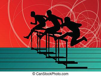 活动篱笆, 障碍, 人, 侧面影象, 描述, 跑, 矢量, 收集, 背景, 活跃, 体育运动, 运动