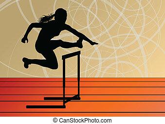活动篱笆, 障碍, 侧面影象, 描述, 跑, 矢量, 背景, 活跃, 女孩, 运动, 体育运动, 妇女