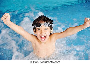 活动, 在上, the, 池, 孩子, 游泳, 同时,, 玩, 在中, 水, 幸福, 同时,, 夏季