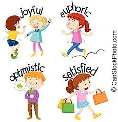 活动, adjectives, 放置, 孩子
