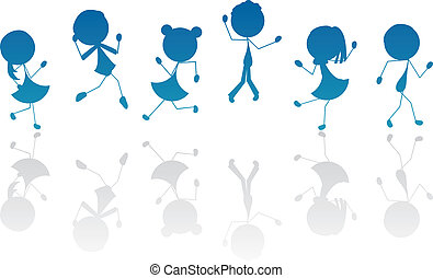 活動的, シルエット, 子供, スティック, 漫画