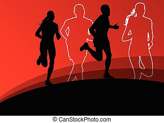 活動的, ランナー, 運動競技, スポーツ, 女性