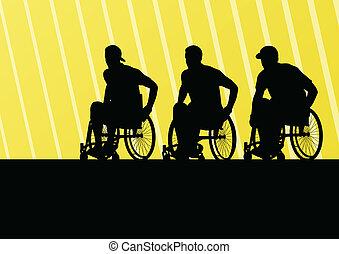 活動的, 不具の人, 上に, a, 車椅子, 詳しい, スポーツ, 概念, シルエット, イラスト, 背景, ベクトル