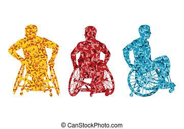 活動的, 不具, 男性, 車椅子, ベクトル, 背景, 概念