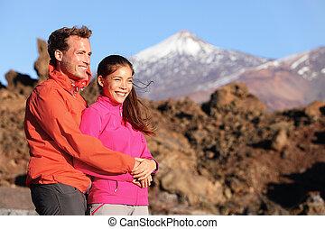 活動的, 恋人, ライフスタイル, ハイキング, 幸せ