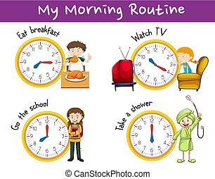 活動, ルーチン, 朝, 子供, 時計