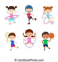 活動, 不同, 孩子, 實踐, sports., outdoors., 孩子, 物理
