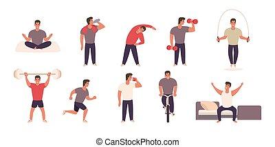 活動, 不同, 實踐, 運動, 物理, 人