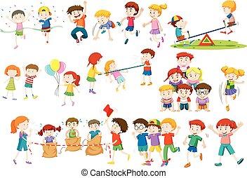 活動, 不同, 比賽, 玩, 孩子