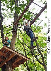 活動, 冒険の 上昇, 子供, 楽しみ, 持つこと, 公園