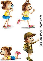 活動, 別, 若い 女の子
