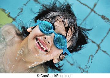 活動, 子供, プール, 水泳