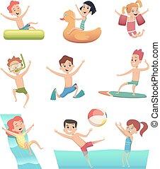 活動, 子供, リング, 公園, マットレス, ゴム, 子供, ベクトル, アクア色, 特徴, 水, 楽しみ, games., ∥あるいは∥, プール, 水泳