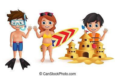 活動, 子供, set., 若い, 遊び, 男の子, 砂, ベクトル, 特徴, 城浜, 女の子