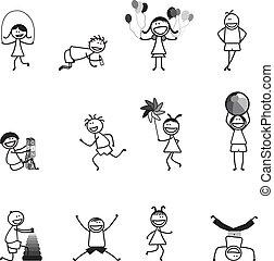 活動, 学校, ボール, 楽しみ, &, アルファベット, 女の子, ブロック, 省略, 遊び, 男の子, 他, 黒, ...