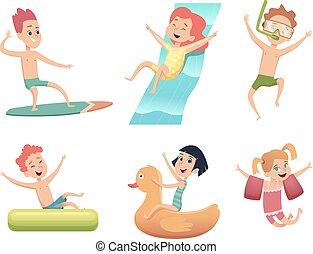 活動, 水泳, childrens, aquapark, コレクション, 水, characters., ベクトル, 海, 幸せ, 漫画, プール, 跳躍