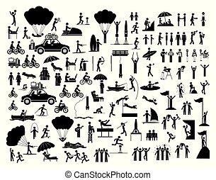 活動, 集合, 人們, 圖象