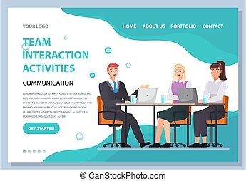 活動, template., 网頁, 工作組, 相互作用, 人們, 資訊, 一起, 相互作用