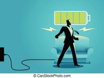活気づけられる, 得ること, 後で, の上, 目覚めること, 睡眠, ビジネスマン, restful