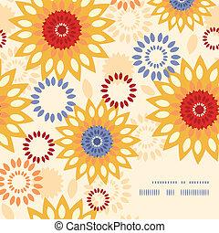 活気に満ちた, 抽象的, 暖かい, 背景 パターン, 花, コーナー, フレーム