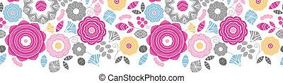 活気に満ちた, 花, scaterred, 横, seamless, パターン, 背景