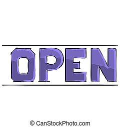 活版印刷, イラスト, 青, オブジェクト, 書かれた, 漫画, 隔離された, 開いた, 白, ベクトル, 背景, 単語