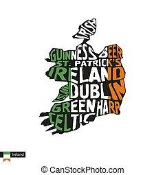 活版印刷, 地図, シルエット, の, アイルランド, 中に, 黒, 旗, colors.