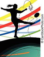 活跃, 妇女, 橄榄球表演者, 年轻, 健康, 运动, 侧面影象, 摘要, 线, 矢量, 背景