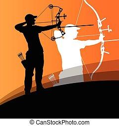 活跃, 年轻, 射箭, 运动, 人和妇女, 侧面影象, 在中, 摘要