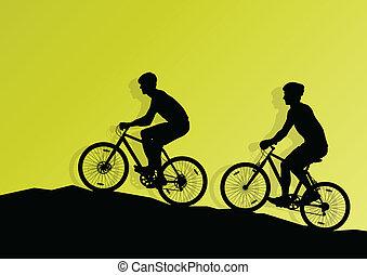 活跃, 骑车者, 自行车骑手, 背景, 描述, 矢量