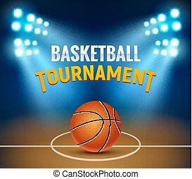 活躍の舞台, バスケットボールコート, バックグラウンド。, トーナメント, 現実的, ゲーム, ベクトル, デザイン, テンプレート, バスケット, poster., 旗
