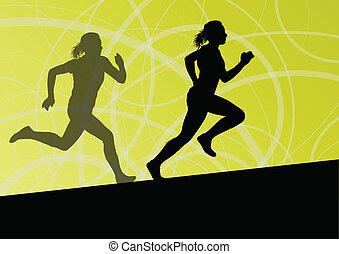 活躍, 婦女, 運動, 体育運動, 跑, 黑色半面畫像, 插圖, 摘要, 背景, 矢量