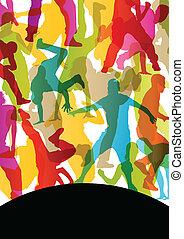 活躍, 年輕人, 以及, 婦女, 街道, 毀坏, 舞蹈家, 黑色半面畫像, 在, 摘要, 背景, 插圖, 矢量
