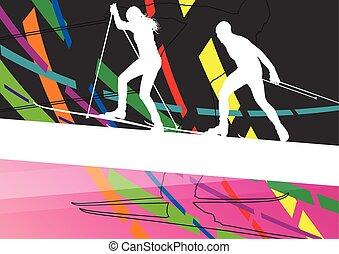 活躍, 年輕婦女, 以及, 人, 滑雪, 運動, 黑色半面畫像, 在, 冬天, 摘要, 線, 背景, 戶外, 插圖