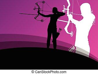 活躍, 年輕, 射箭, 運動, 人和婦女, 黑色半面畫像, 在, 摘要