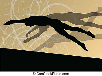 活躍, 年輕, 游泳者, 跳水, 以及, 游泳, 在, 水運動, 池, 黑色半面畫像, 矢量, 摘要, 背景, 插圖