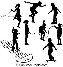 活躍, kids., 孩子, 上, 溜冰鞋, 跳繩, 或者, 玩, 上, the, 跳房子游戲