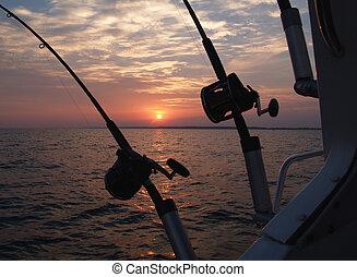 流し釣りをする, ポーランド人, 釣り, silhouetted