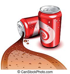 流れること, 缶, コーラ