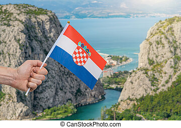 流れ, 川, croatia., adriatic, omis, cetina, 海