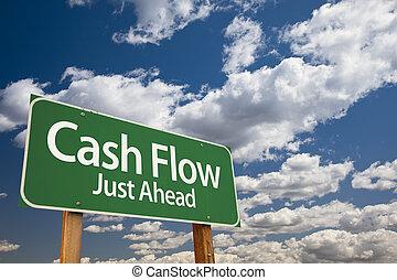 流れ, 緑, 現金, 道 印