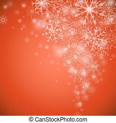 流れ, space., クリスマス, ベクトル, 背景, コピー, 雪片, 赤