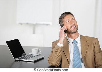 流動, 向上, 看, 電話, 當時, 商人, 書桌, 使用