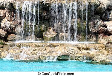 流動, 瀑布, 在, 游泳池