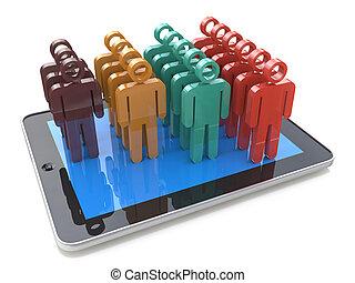 流動, 社會, 媒介, 聯网, 以及, 客戶, 管理, 成長, concept:, 條形圖, 圖表, 從, 顏色, 人類圖, 上, 現代, 黑色, 有光澤, 便攜式, 小塊pc, 電腦, 被隔离, 在懷特上, 背景