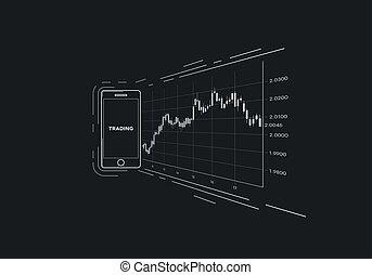 流動, 設備, 由于, 財政, 日語, candlestick, 圖表