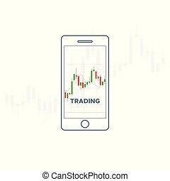 流動, 設備, 由于, 財政, 日語, candlestick, chart.