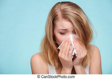 流感, allergy., 有病, 女孩, 打噴嚏, 在, tissue., 健康