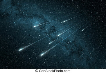 流星, 夜, シャワー, 空, 星が多い