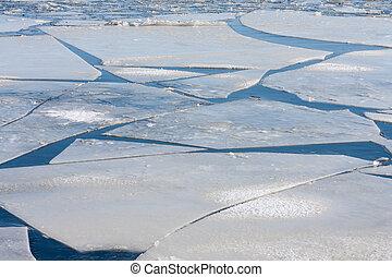 流氷, 凍らせられた, 海氷, 大きい